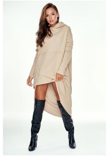 Štýlová asymetrická dlhá tunika s kapucňou a vreckami pre dámy v béžovej farbe
