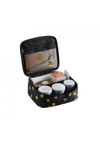 Kozmetická dámska taška čiernej farby s potlačou citrónov