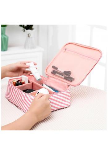 Dámska kozmetická taška s pásikmi v ružovo-bielej farbe