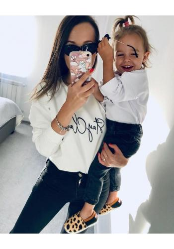 """Biela zostava mikín s nápisom """"stay classy"""" pre mamu a dieťa"""