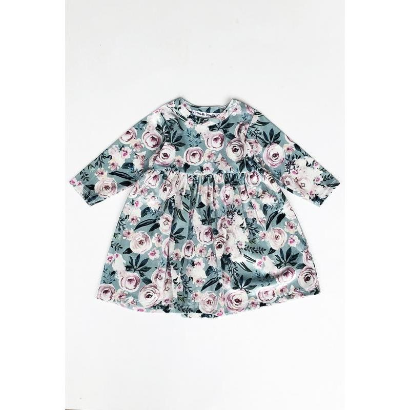 Zostava šiat pre mamu a dieťa mätovej farby s kvetmi