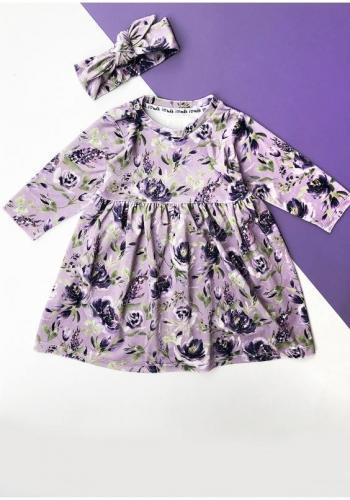 Zostava šiat pre mamu a dieťa fialovej farby s kvetmi