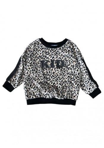 Biela zostava mikín pre mamu a dieťa s leopardím vzorom