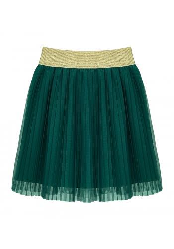 Skladaná smaragdová sukňa