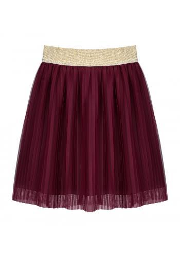 Bordová skladaná sukňa