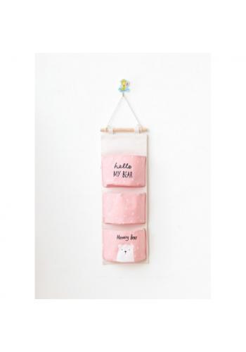 Závesný organizér na hračky v ružovej farbe - medvedík a nápis