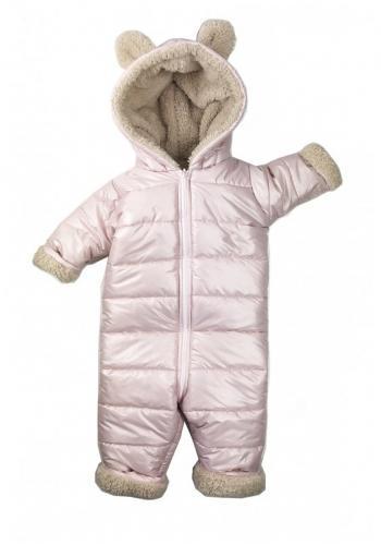 Zimná kombinéza pre dievčatá s kapucňou a ušami vo svetlo ružovej farbe