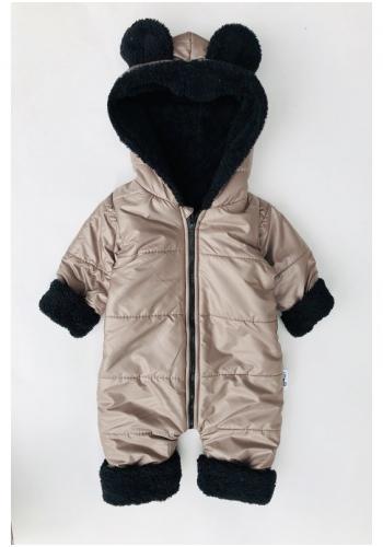 Zimná kombinéza pre deti s kapucňou a ušami v béžovej farbe
