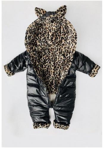 Zimná kombinéza pre dievčatá v čiernej farbe s kapucňou a ušami leoparda