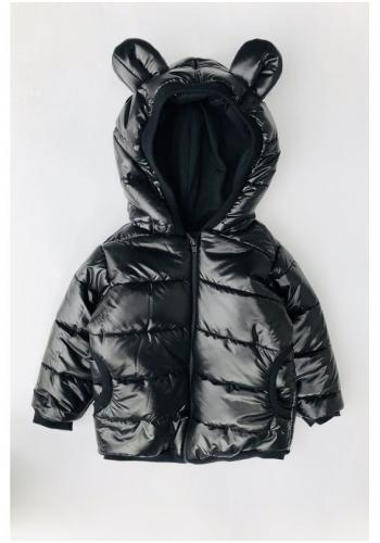 Detská prešívaná bunda v čiernej farbe s kapucňou a ušami medveďa