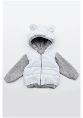 Detská kombinovaná banda s kapucňou a ušami medveďa v sivo-bielej farbe