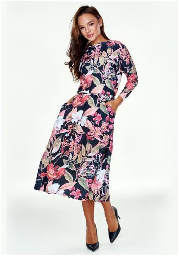 Čierne dlhšie šaty v čiernej farbe s kvetinovou potlačou pre dámy