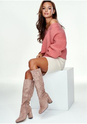 Ružový krátky mohérový sveter s V výstrihom pre dámy