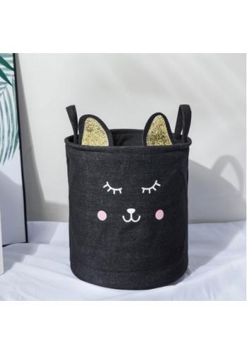 Kôš na hračky čierny - mačka s uškami