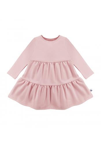 Svetlo ružové šaty pre dievčatá s dlhým rukávom