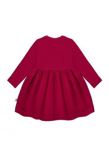 Dievčenské šaty v tmavo červenej farbe s dlhým rukávom