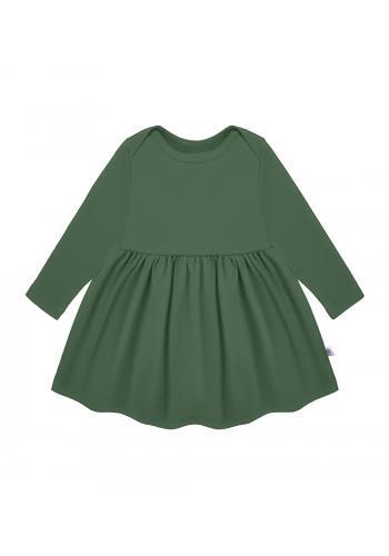 Zelené šaty pre dievčatá s dlhým rukávom