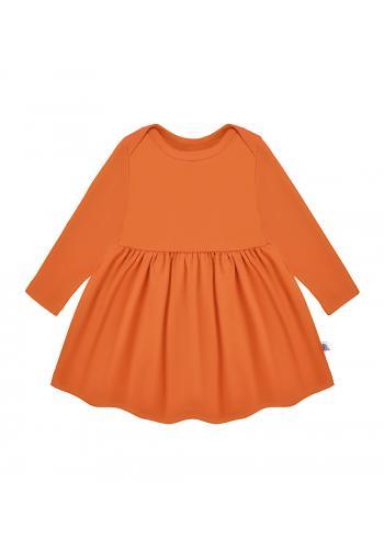 Pomarančové šaty s dlhým rukávom pre dievčatá