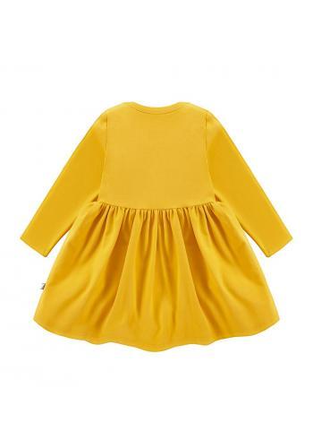 Šaty pre dievčatá v horčicovej farbe s dlhým rukávom