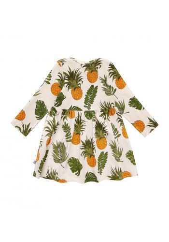 Šaty pre dievčatá s dlhým rukávom s ananásovou potlačou