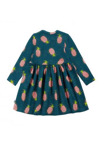 Tmavo zelené ananásové šaty pre dievčatá s dlhým rukávom