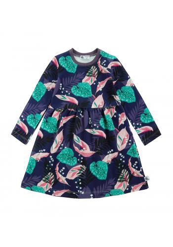 Fialové šaty s farebnou potlačou pre dievčatá