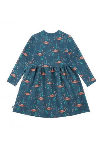 Tmavo modré šaty s plameniakmi pre dievčatá s dlhým rukávom