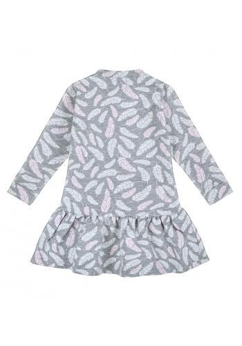 Svetlo sivé šaty s potlačou pierok pre dievčatá s dlhým rukávom