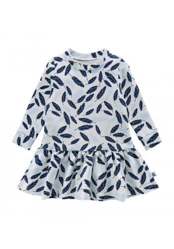 Biele bavlnené šaty s modrým perím pre dievčatá
