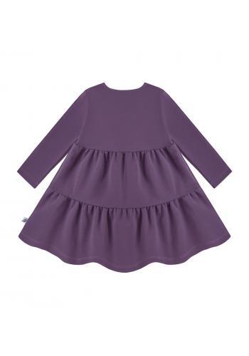 Šaty pre dievčatá s dlhým rukávom v tmavo fialovom odtieni