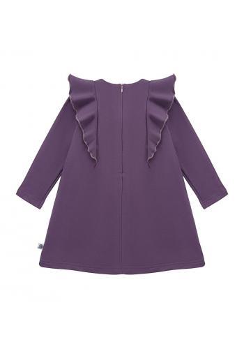 Tmavo fialové šaty pre dievčatá s volánikmi