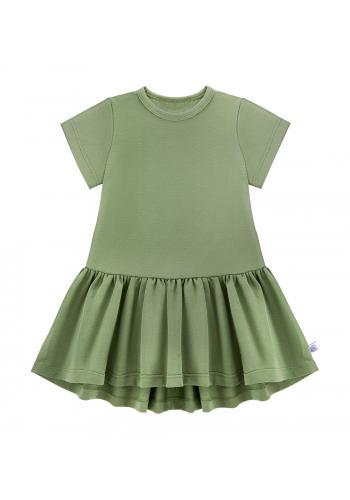 Zelené šaty pre dievčatá s krátkym rukávom