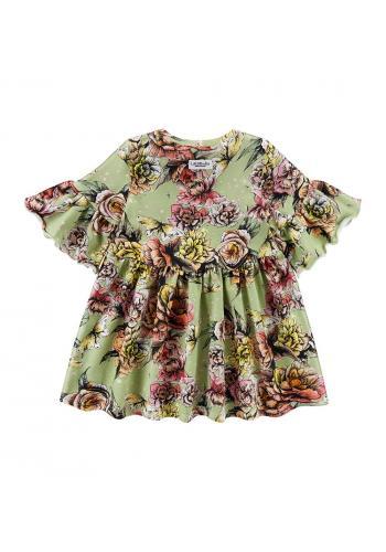 Dievčenské šaty zelenej farby s potlačou pivónii