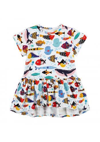 Biele bavlnené šaty pre dievčatká s potlačou farebných rybiek