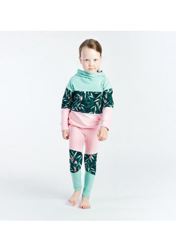 Dievčenský komplet v pastelových farbách ružovej a modrej s potlačou