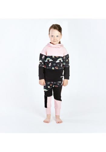Čierno - ružová bavlnená tepláková súprava s motívom dúhy