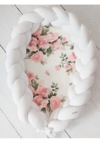 Uzlíkový detský kokon PREMIUM 2 v 1 - biely/zázračný kvet