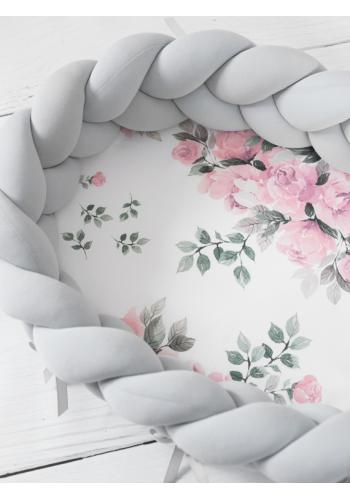 Uzlíkový detský kokon PREMIUM 2 v 1 - svetlo sivý/zázračný kvet