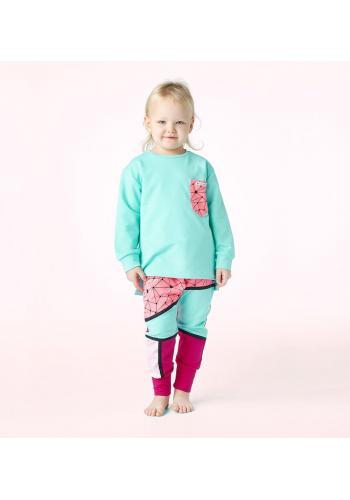 Tyrkysovo-ružová tepláková súprava pre dievčatká