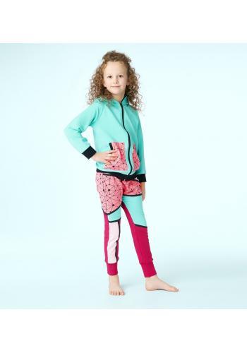 Dievčenská teplaková súprava tyrkysovo-ružovej farby