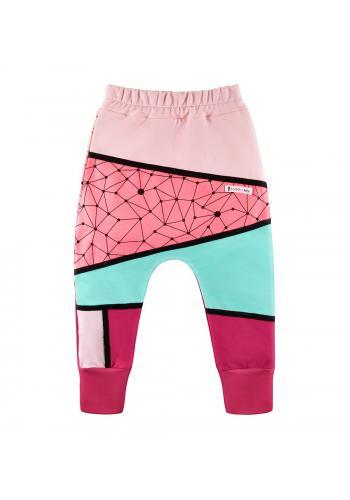 Dievčenské teplaky tyrkysovo-ružovej farby