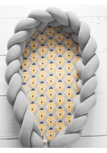Zapletený detský kokon 2 v 1 - sivý/sovy