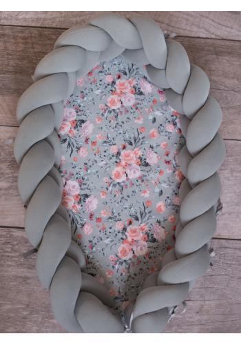 Zapletený detský kokon 2 v 1 - sivý/vintage ruže