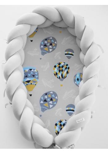 Zapletený detský kokon 2 v 1 - svetlo sivý/lietajúce balóny