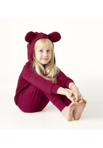 Dievčenská tepláková súprava s uškami myšky v tmavo ružovej farbe