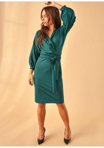 Tmavozelené šaty so širokými 3/4 rukávmi a V výstrihom pre dámy