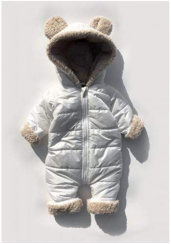 Zimná kombinéza pre deti s kapucňou a ušami v bielej farbe