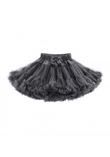 Tmavo sivá tylová sukňa pre dievčatá