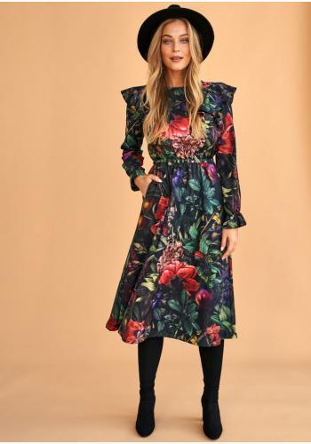 Čierne midi šaty s potlačou kvetov - tajná záhrada pre dámy