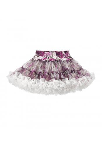 Tylová sukňa krémovej farby s potlačou pivónie